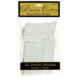 Silver Premium Heavy Weight Plastic Spoons 20ct