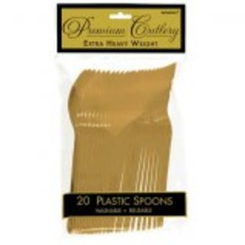 Gold Premium Heavy Weight Plastic Spoons 20ct