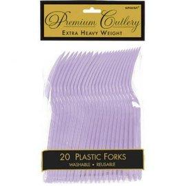 Lavender Premium Heavy Weight Plastic Forks 20ct