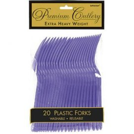 New Purple Premium Heavy Weight Plastic Forks 20ct