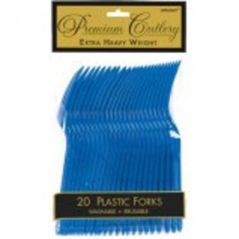 Bright Royal Blue Premium Heavy Weight Plastic Forks 20ct