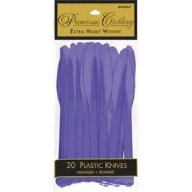 New Purple Premium Heavy Weight Plastic Knives 20ct