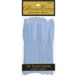 Pastel Blue Premium Heavy Weight Plastic Knives 20ct