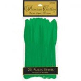 Festive Green Premium Heavy Weight Plastic Knives 20ct