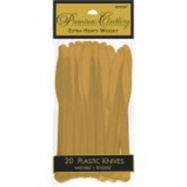 Gold Premium Heavy Weight Plastic Knives 20ct