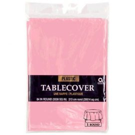 "Table Cover Plastic Round 84"" New Pink"