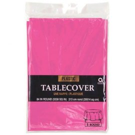 """Bright Pink Round Plastic Table Cover, 84"""""""