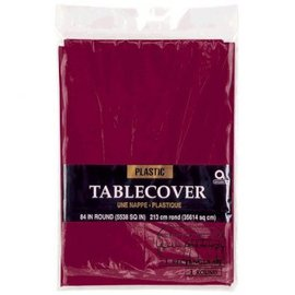 Berry Round Plastic Table Cover, 84""