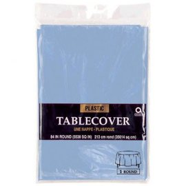 "Table Cover Plastic Round 84"" Pastel Blue"
