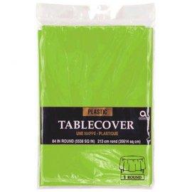 "Kiwi Round Plastic Table Cover, 84"""
