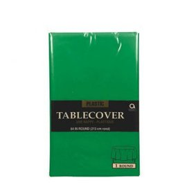 "Table Cover Plastic Round 84"" Festive Green"
