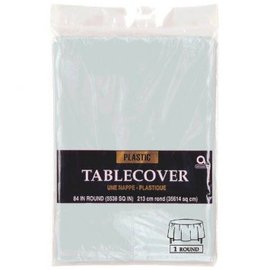 Silver Round Plastic Table Cover, 84""