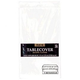 """Frosty White Rectangular Plastic Table Cover, 54"""" x 108"""""""