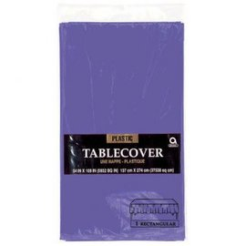 "New Purple Rectangular Plastic Table Cover, 54"" x 108"""