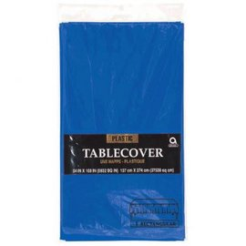 "Royal Blue Plastic Table Cover, rectangular 54""x108"""