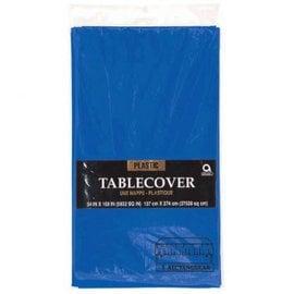 "Royal Blue Plastic Table Cover, rectangular 54""x108"""