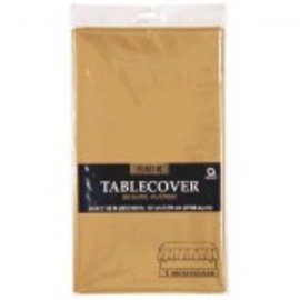 "Gold Rectangular Plastic Table Cover, 54"" x 108"""