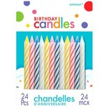 Assorted Candy Stripe Spiral Candles 24ct