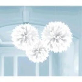 Frosty White Fluffy Paper Decorations, 3ct
