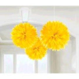 Yellow Sunshine Fluffy Paper Decorations, 3ct