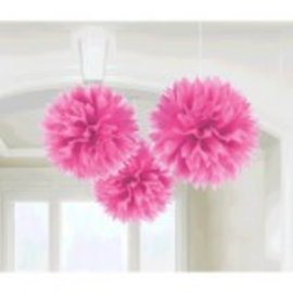 Bright Pink Fluffy Paper Decorations, 3ct