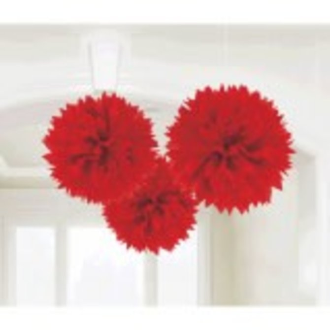 Apple Red Fluffy Paper Decorations, 3ct