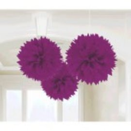 New Purple Fluffy Paper Decorations, 3ct