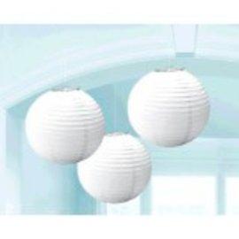Frosty White Round Paper Lanterns, 3CT