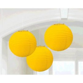 Yellow Sunshine Round Paper Lanterns, 3CT