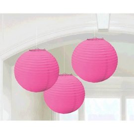 Bright Pink Round Paper Lanterns, 3CT