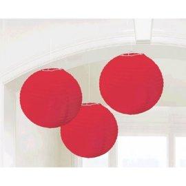 Apple Red Round Paper Lanterns, 3ct