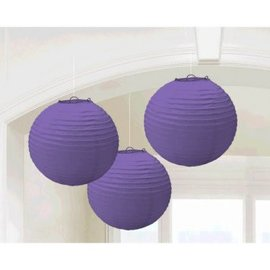 New Purple Round Paper Lanterns-3ct