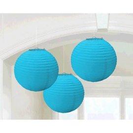 Caribbean Blue Round Paper Lanterns, 3ct