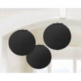 Jet Black Round Paper Lanterns-3ct
