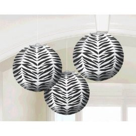 Black-White Zebra Round Paper Lanterns, 3Ct