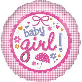 "New Baby Girl Gingham Balloon, 18"""