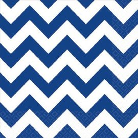 Bright Royal Blue Beverage Napkins - Chevron 16ct