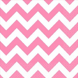 New Pink Beverage Napkins - Chevron 16ct