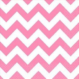 New Pink Beverage Napkins - Chevron 16ct