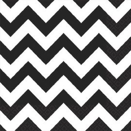 Black Chevron Beverage Napkins 16ct.