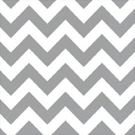 Frosty White Chevron Beverage Napkins 16ct.
