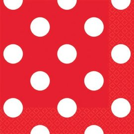 Red Dots Beverage Napkins 16ct.