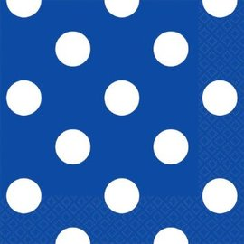 Bright Royal Blue Dots Beverage Napkins 16ct.