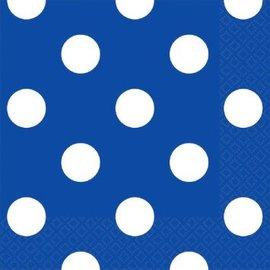 Bright Royal Blue Dots Beverage Napkins 16ct.