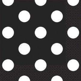Black Dots Beverage Napkins-16ct