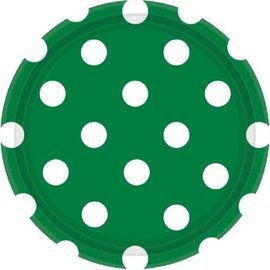 "Festive Green Dots, 7"" Round Plates 8ct"