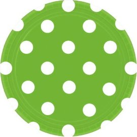"Kiwi Dots, 7"" Round Plates 8ct."
