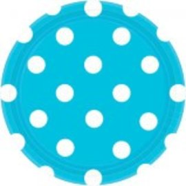 "Caribbean Blue Plates, 7"" ‑ Dots 8ct."