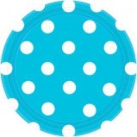 "Caribbean Blue Plates, 7"" ‑ Dots 8ct."