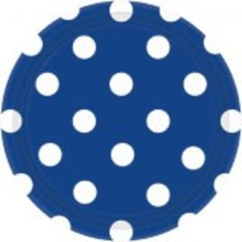 "Bright Royal Blue Plates, 7"" ‑ Dots 8ct"